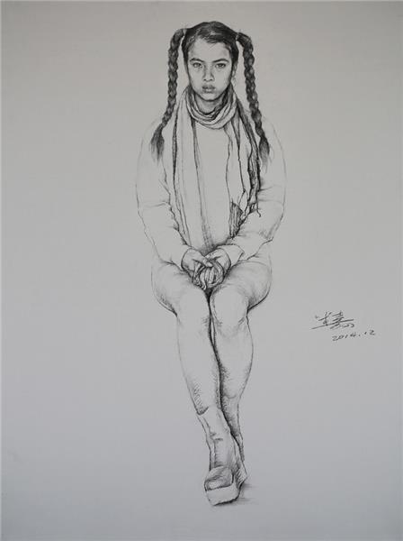 郝米嘉 苗族姑娘 素描